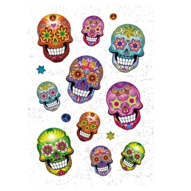 Herma Etiket Skull Flower Power Renkli